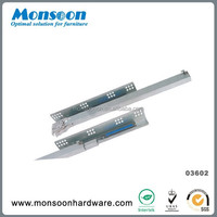Hot sale push-open full extension concealed drawer slide with clip fixing and pin fixing