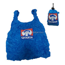 190T polyester drawstring folding shopping bag