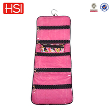 pink color travel bag portable hanging travel cosmetic bag with pothook