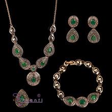 Elegant vintage emerald inspired crystal jewelry set
