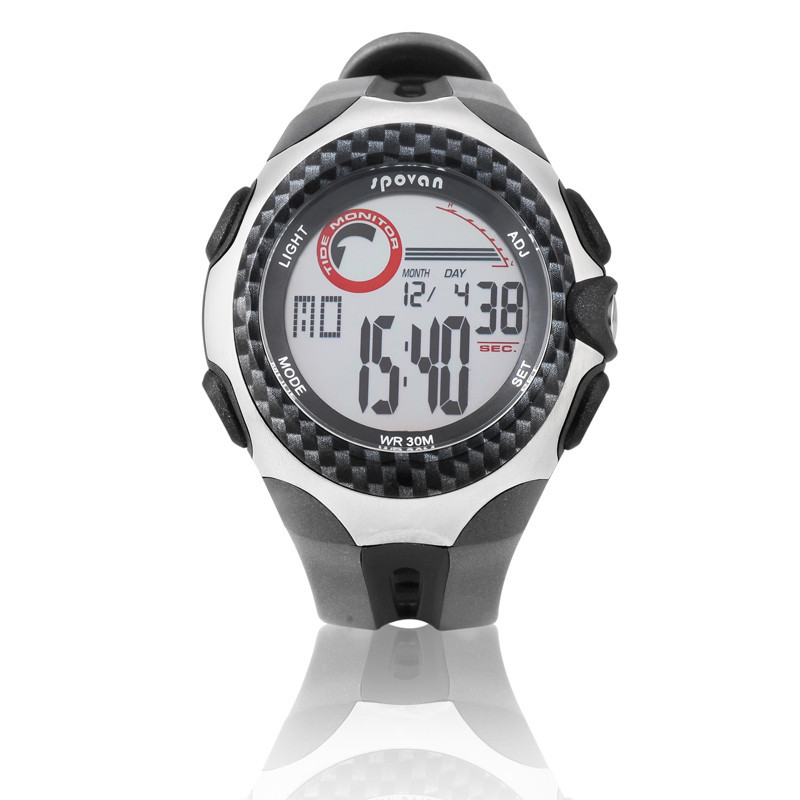 Новый Spovan Многофункциональный Цифровой Спорт Прилив Монитор Часы РЫБАЛКА/Парусный Спорт/Серфинг/Дайвинг Наручные Часы 5 АТМ Водонепроницаемый