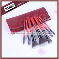 New Hot Sale 7 pcs Makeup Brush set Private Label With Red Alligator Pouch 7pc Brush Make-up