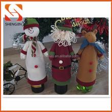 Xmas party decorations unique santa snowman reindeer fleece red wine bottle covers christmas