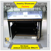 Quality assurred MDF wooden furniture shop counter jewelry showcase with storage and metal leg