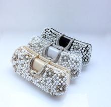 Hot Style wholesale &retail New pearl diamond clutch handbags boutique evening bag black/light gold/silver NO77917
