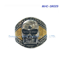 Hotsale Skull Ring Factory Stainless Steel Jewelry Gemstone Ring with Zircon
