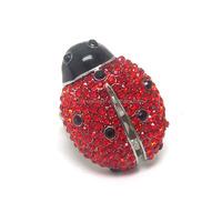 Crystal ladybug stretch ring