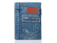 2014 new product jean design flip stand tablet leather case for iPad mini