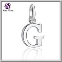 Fashion G Letter Charm Pendant Jewelry Wholesale Alphabet Charm Pendant Jewelry 18k white Gold Pendants