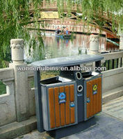 metal dustbin with plastic wood covered