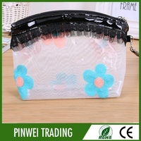 pvc free clear lace cosmetic girl bag with zipper slider