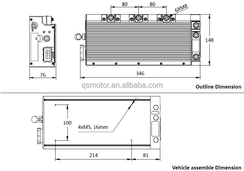 APT Programmable Sine Wave FOC AE96600 72V 96V 8kW PM Motor Driver Controller
