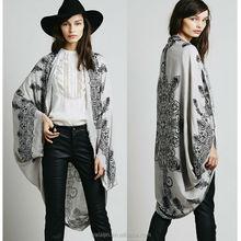 Raw hem batwing print kimono, cotton fashion kimono