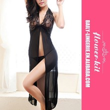 Wholesale Black Transparent Sexy Lingerie Mesh Long Sleepwear night wear