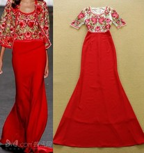 Top Grade Latest Design Formal Wedding Dress 2015 Summer Women Exquisite Gauze Embroidery Half Sleeve Red Wedding Party Dress