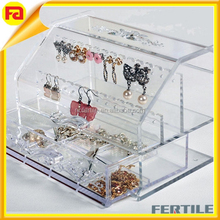 Jewelry Storage Acrylic Clear Box Display Cosmetic Organizer Case Holder / Acrylic Earring Storage Box