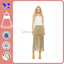 Tight Pencil A line Tassels Long Leather Skirt