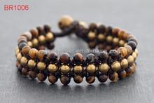 Popular Bulk Fashion Jewelry Wholesale China Tiger Eye Natural Stone Wrap Around Bead Bracelets For Men
