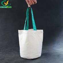 Green Handled Style Round Bottom Cotton Tote bags with no gusset
