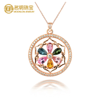 Vogue silver wedding jewelry, gold plating tourmaline pendant necklace for family gift