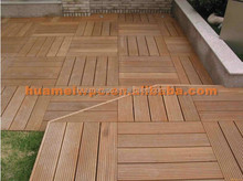 interlocking outdoor deck tiles /garden solid teak wood flooring with plastic base from binzhou huamei wpc