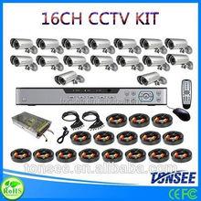 Digital Camera kit Plastic Bags 16CH CCTV DVR with 800TVL CMOS IR bullet Cameras dvr kit