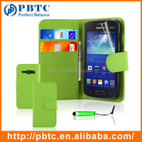 Set Screen Protector Stylus And Case For Samsung S7272 , Green Wallet Leather Card Case