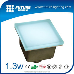 Outdoor IP67 rgb color changing 100x100 mm led brick light , frosted glass led floor tile light