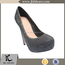 2015 high heel super fake leather lady fashion shoe from supplier with rhinestone decoration