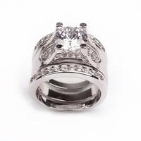 SJ Factory Direct Sale Shiny Cubic Zirconia Rhodium Plating Women Wedding Ring for Bride as Gift