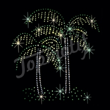 Sparkly Green Dots Hot Fix Crystals Patterns Rhinestones Palm Trees Transfers Iron On
