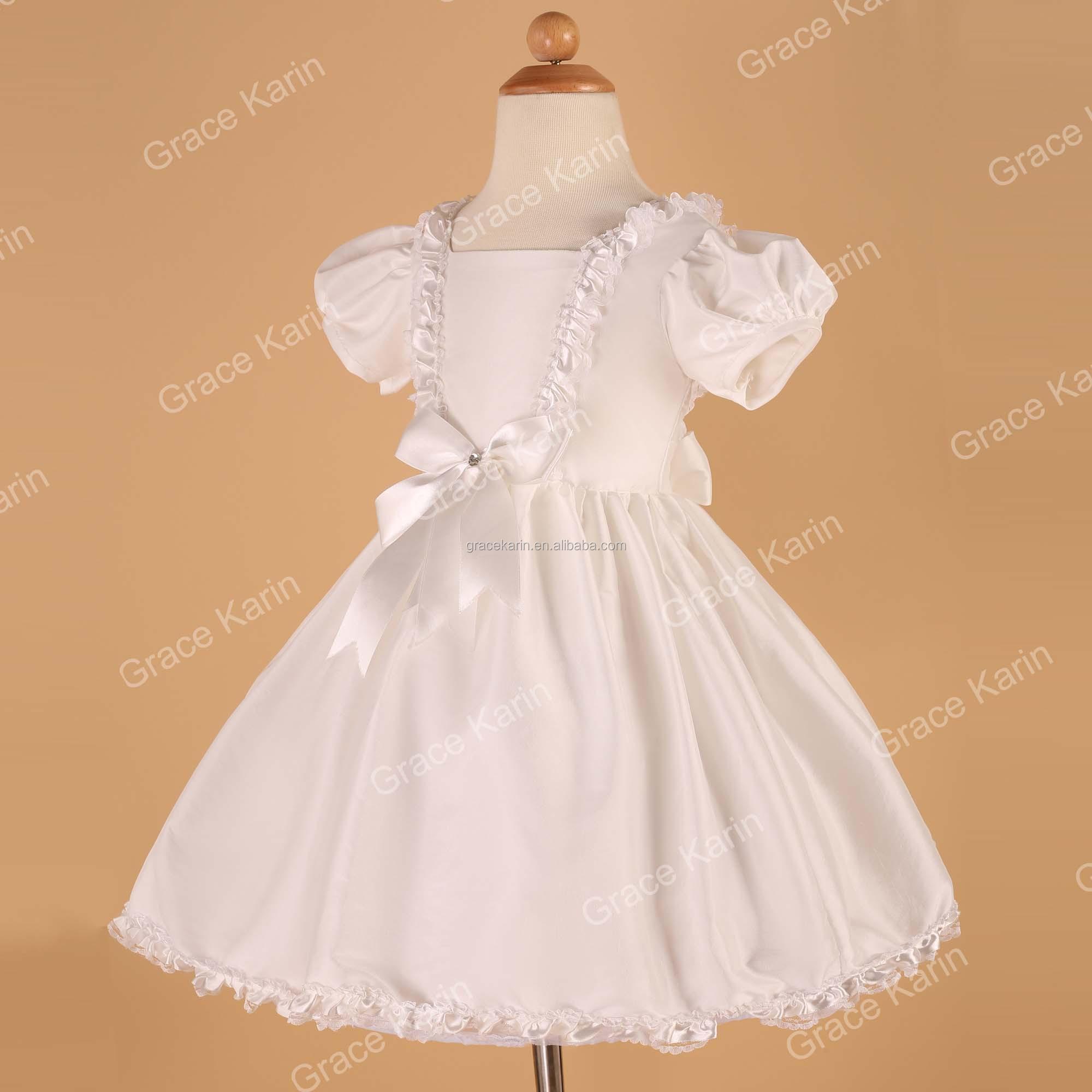 Grace Karin New Puff Sleeve Taffeta White Short Sleeve Flower Girl