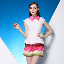 Gifts summer new doll collar flounced chiffon shirt short sleeve shirt stripes shorts suit Apparel lady Suits Tuxedo