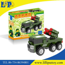 Intelligence plastic missile car building blocks toy
