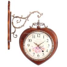 Home Decor Double Sided Design Wooden Quartz Clock Antique