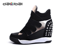 Increasing 8cm elevator suede fashion high cut women sneakers