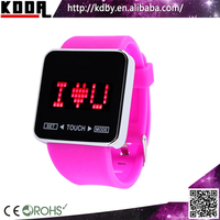 Youth Girls Fashion Pink Silicone Screen Sports LED Touch Screen Watch
