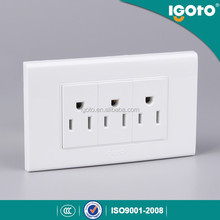 American style Multi-fuction 16A 3 gang wall electric socket