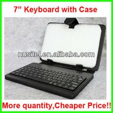 Factory direct sell leather keyboard with case for 7 inch tablet pc
