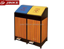 JINKE Street Waste Can Double Compartments Wooden Outdoor Litter Bin