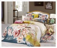 hot sales 100% cotton big flower bedding set 3d bed sheet