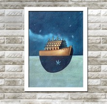 XQ31 Wholesales Boat Castle Design Canvas Stand Modern Painting