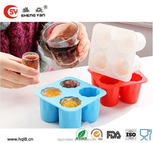 High quality 4 cups colorful round ice shot glass silicone mold