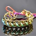 arco iris de colores joyas pulsera macrame cadena de eslabones de oro