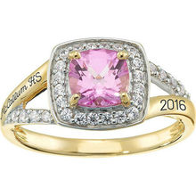 Rose gold plated female school class rings