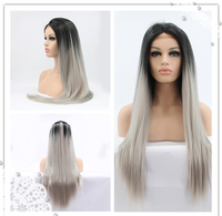 cheap black to grey ombre wig long silky straight wigs synthetic lace front wig heat resistant