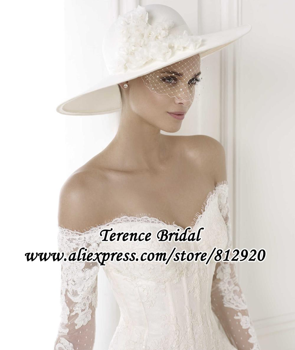 Buy off the shoulder tulle ball gown long for Lace sleeve corset wedding dress
