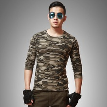 High quality wholesale 95% cotton 5% spandex field operation training long sleeve camouflage t shirt