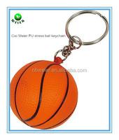 bulk polyurethane 4cm PU basketball keyring/custom printed PU basketball keyring/PU toy foam stress basketball keyring