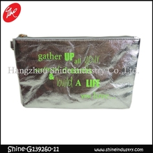 green English letters coin purse/shining silver women wallet with wristlet